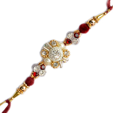 -Attractive Diamond Pearl with Gold ,Send Rakhi online,send rakhi,online send rakhi,rakhi to india,send rakhi to india,rakhi shop india