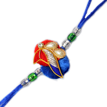 -Peacock Resham Zardosi Rakhi,Send Rakhi online,send rakhi,online send rakhi,rakhi to india,send rakhi to india,rakhi shop india