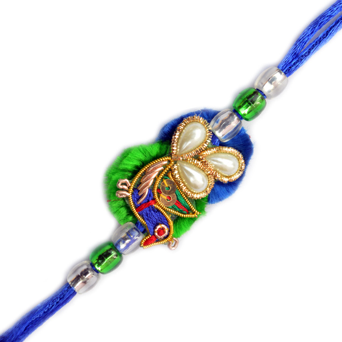 -Peacock with Pearl Zardosi Rakhi,Send Rakhi online,send rakhi,online send rakhi,rakhi to india,send rakhi to india,rakhi shop india
