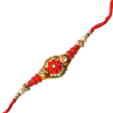 -Red Floral Pearl Rakhi,Send Rakhi online,send rakhi,online send rakhi,rakhi to india,send rakhi to india,rakhi shop india