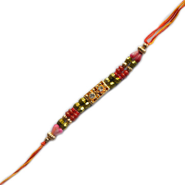 Threads Rakhi-Red Green Moti Rakhi,Send Rakhi online,send rakhi,online send rakhi,rakhi to india,send rakhi to india,rakhi shop india