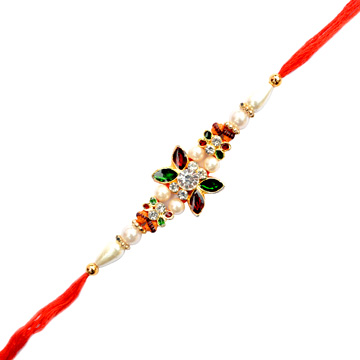 Threads Rakhi-Floral Kundan Stone Designer Rakhi,Send Rakhi online,send rakhi,online send rakhi,rakhi to india,send rakhi to india,rakhi shop india