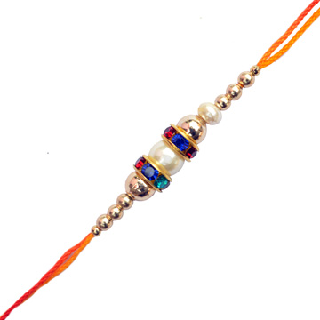 -Colorful Stone Pearl Rakhi,Send Rakhi online,send rakhi,online send rakhi,rakhi to india,send rakhi to india,rakhi shop india