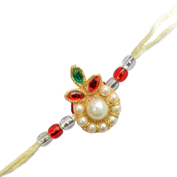 -Floral Zari Color Stone Zardosi Rakhi,Send Rakhi online,send rakhi,online send rakhi,rakhi to india,send rakhi to india,rakhi shop india