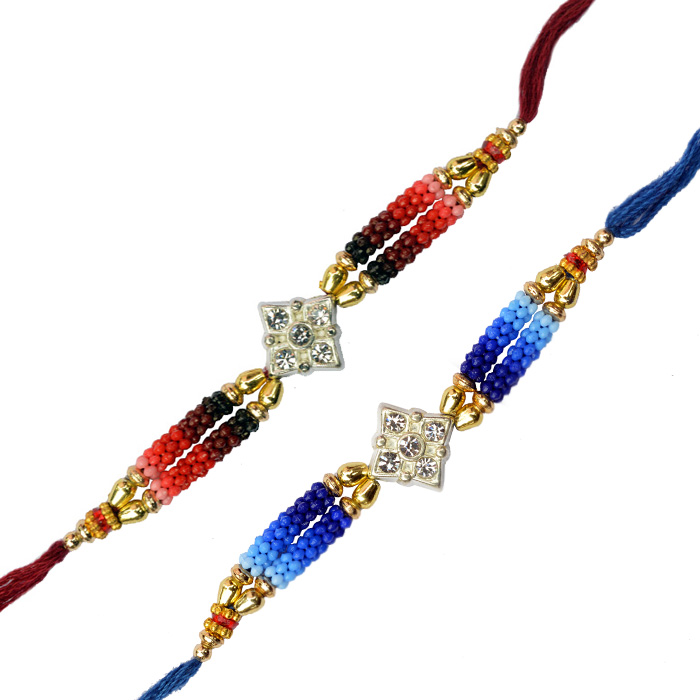 -Red Blue Metal with Diamond Bhai Rakhi,Send Rakhi online,send rakhi,online send rakhi,rakhi to india,send rakhi to india,rakhi shop india