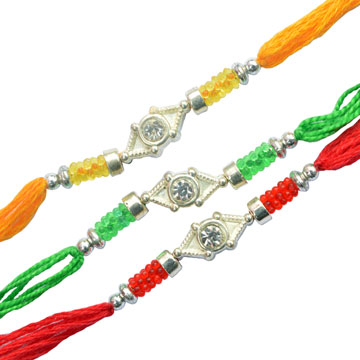 -Single Diamond 3 Rakhi Set ,Send Rakhi online,send rakhi,online send rakhi,rakhi to india,send rakhi to india,rakhi shop india