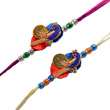 -Mayura Zardosi 2 Rakhi Set  ,Send Rakhi online,send rakhi,online send rakhi,rakhi to india,send rakhi to india,rakhi shop india
