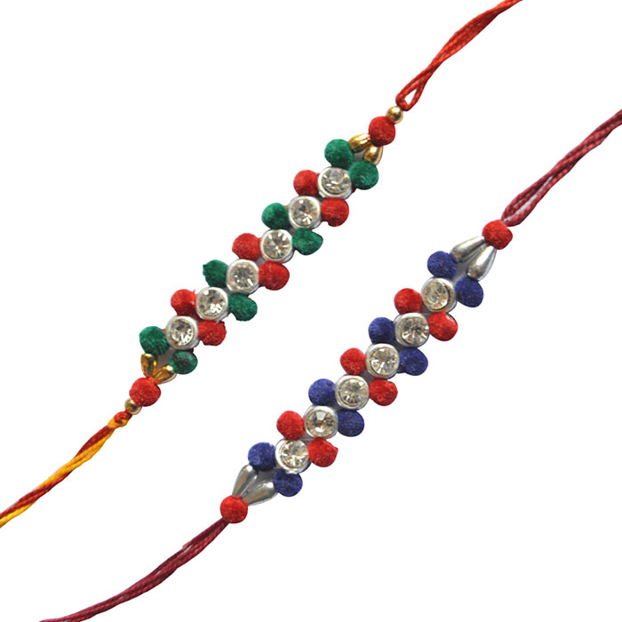 -2 Cotton Diamond Rakhi Set,Send Rakhi online,send rakhi,online send rakhi,rakhi to india,send rakhi to india,rakhi shop india