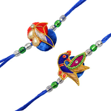 -2 zardosi Rakhi set For Brother,Send Rakhi online,send rakhi,online send rakhi,rakhi to india,send rakhi to india,rakhi shop india