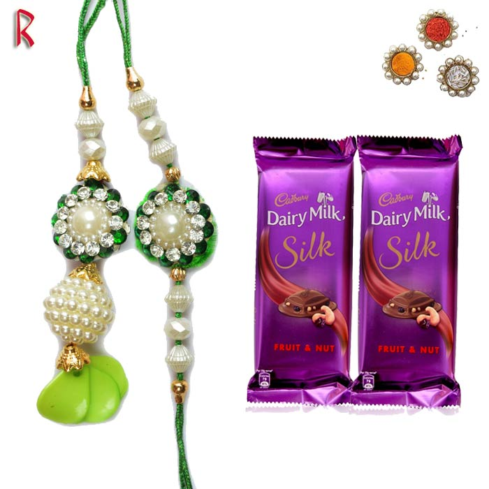 Sparking Pair Rakhi With Chocolate