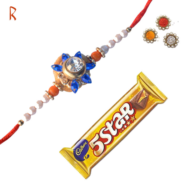 -Floral Rakhi with 5 Star,Send Rakhi online,send rakhi,online send rakhi,rakhi to india,send rakhi to india,rakhi shop india