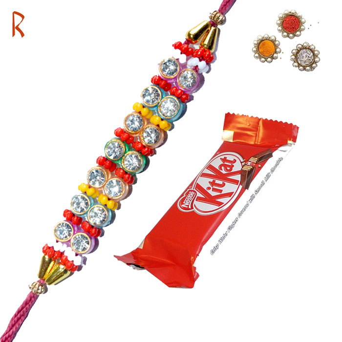 -Spark Diamond Rakhi with KitKat,Send Rakhi online,send rakhi,online send rakhi,rakhi to india,send rakhi to india,rakhi shop india
