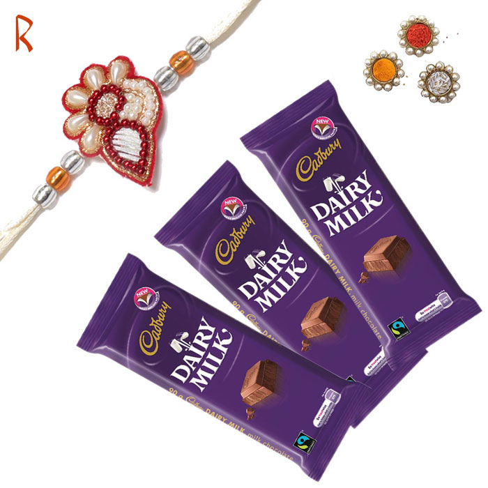 -Rakhi with 3 Chocolate Love ,Send Rakhi online,send rakhi,online send rakhi,rakhi to india,send rakhi to india,rakhi shop india