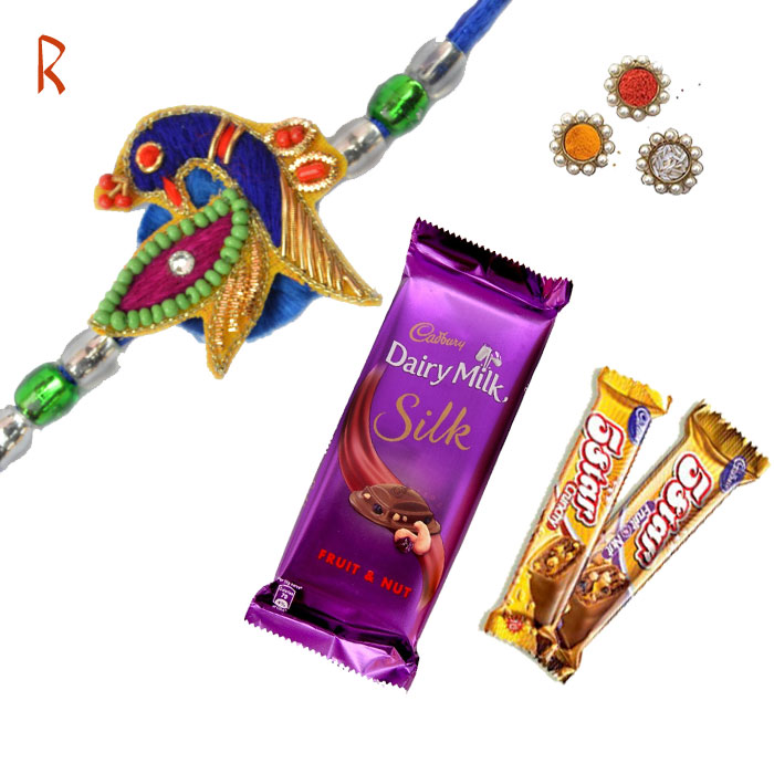Rakhi With Chocolates-Peacock Creativity Rakhi With  3 Chocolate,Send Rakhi online,send rakhi,online send rakhi,rakhi to india,send rakhi to india,rakhi shop india