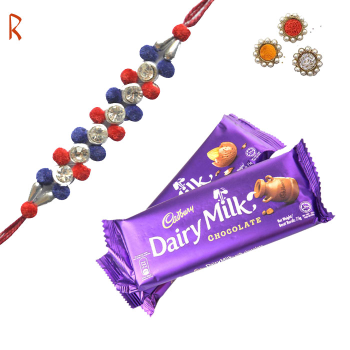 -Multi Color Stylish Designer Rakhi With 2 Dairy Milk,Send Rakhi online,send rakhi,online send rakhi,rakhi to india,send rakhi to india,rakhi shop india