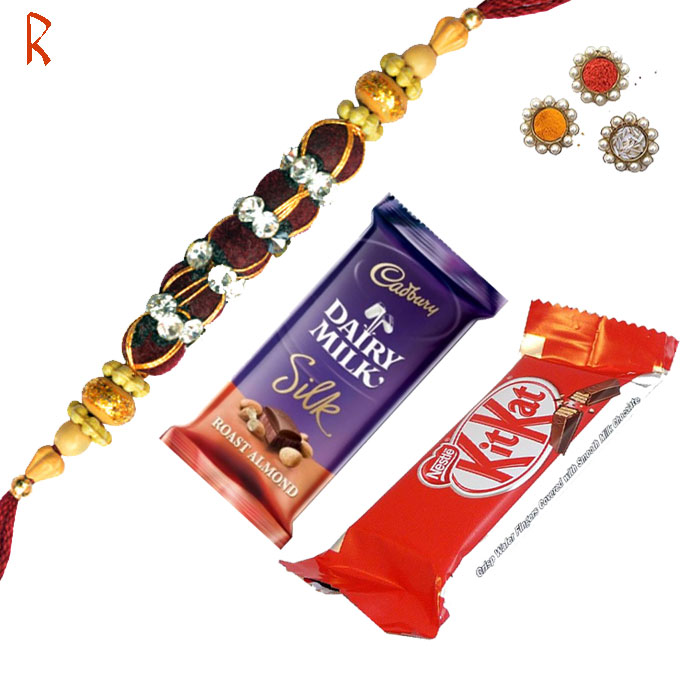 Rakhi With Chocolates-Traditional  Rakhi With Diary Milk and Kitkat,Send Rakhi online,send rakhi,online send rakhi,rakhi to india,send rakhi to india,rakhi shop india