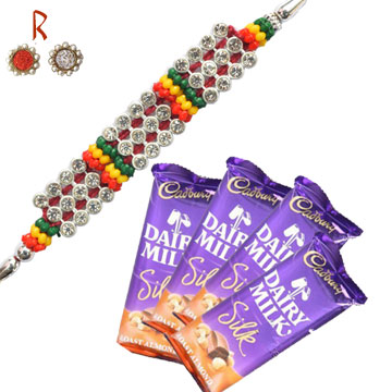 Rakhi With Chocolates-Diamond Rakhi with 4 Cadbury Silk Chocolates,Send Rakhi online,send rakhi,online send rakhi,rakhi to india,send rakhi to india,rakhi shop india