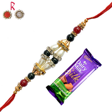 -Cadbury Silk Roast Almond with Trend Rakhi ,Send Rakhi online,send rakhi,online send rakhi,rakhi to india,send rakhi to india,rakhi shop india