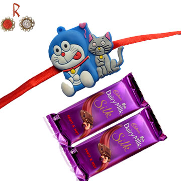 Rakhi With Chocolates-DORAEMON KIDS RAKHI with 2  Silk Chocolates,Send Rakhi online,send rakhi,online send rakhi,rakhi to india,send rakhi to india,rakhi shop india