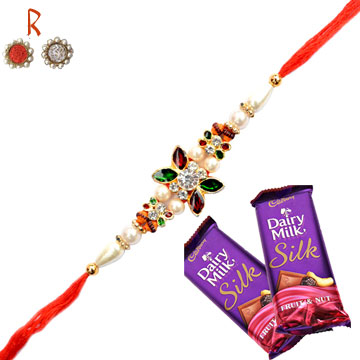 -Flower Designer Diamond Rakhi with  Chocoates for  Celibration,Send Rakhi online,send rakhi,online send rakhi,rakhi to india,send rakhi to india,rakhi shop india