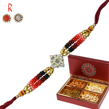 Rakhi with Dry Fruits-Designer Rakhi with Dry fruits Gift Box,Send Rakhi online,send rakhi,online send rakhi,rakhi to india,send rakhi to india,rakhi shop india