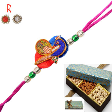 Peacock Creativity Bhaiya  Rakhi with Dry Fruits Box