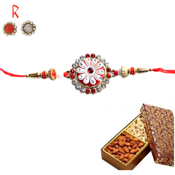 Rakhi with Dry Fruits-Flower Diamond Rakhi with Dry Fruits from India,Send Rakhi online,send rakhi,online send rakhi,rakhi to india,send rakhi to india,rakhi shop india