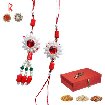 -Diamond Floral RedLuxurious Pair Rakhi with Dry Fruits to Singapore  India USA UK,Send Rakhi online,send rakhi,online send rakhi,rakhi to india,send rakhi to india,rakhi shop india