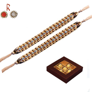 -2 Brother luxurious Rakhi Set with Ferrero Rocher Chocolates for UK AND Australia,Send Rakhi online,send rakhi,online send rakhi,rakhi to india,send rakhi to india,rakhi shop india