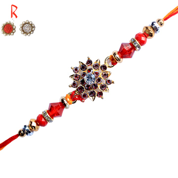 -Sparkling Red Flower Kundan Rakhi For Brother,Send Rakhi online,send rakhi,online send rakhi,rakhi to india,send rakhi to india,rakhi shop india