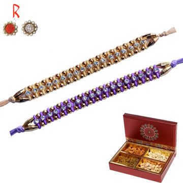 Rakhi with Dry Fruits-Rakhi Set for 2 Brother with Dry Fruits ,Send Rakhi online,send rakhi,online send rakhi,rakhi to india,send rakhi to india,rakhi shop india