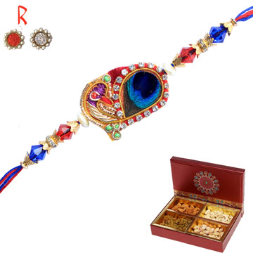 -Peacock Bhai Rakhi with 4 Dry Fruits Nuts,Send Rakhi online,send rakhi,online send rakhi,rakhi to india,send rakhi to india,rakhi shop india