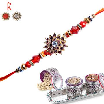-Flower Rakhi with Dry Fruits 3 Nuts,Send Rakhi online,send rakhi,online send rakhi,rakhi to india,send rakhi to india,rakhi shop india
