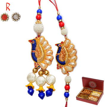 Traditional Bhaiya Bhabhi Rakhi with 4 type Dry fruits