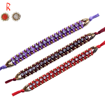 -Specially Dazzling 3 Color 3 Brother Set of  Rakhi,Send Rakhi online,send rakhi,online send rakhi,rakhi to india,send rakhi to india,rakhi shop india