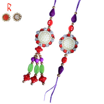 -Flower Diamond Bhaiya-Bhabhi Rakhi Pair for Austalia  India UK USA UAE  Anywhere,Send Rakhi online,send rakhi,online send rakhi,rakhi to india,send rakhi to india,rakhi shop india
