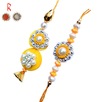 -Yallow Bhaiya-Bhabhi Rakhi Pair for UK India Australia Canada Singapore Dubai Oman Bahrain Newzeala,Send Rakhi online,send rakhi,online send rakhi,rakhi to india,send rakhi to india,rakhi shop india