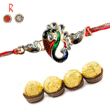 -Ganesha Designer Rakhi  with Chocolate for  Canada India  USA UK,Send Rakhi online,send rakhi,online send rakhi,rakhi to india,send rakhi to india,rakhi shop india