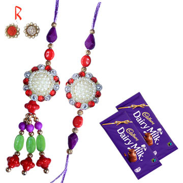 -Multi color Pair Rakhi with Chocolate for India Usa Canada Uk,Send Rakhi online,send rakhi,online send rakhi,rakhi to india,send rakhi to india,rakhi shop india