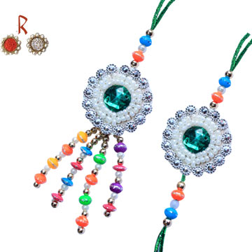 -Green Blue Pair Rakhi for Cute Bhaiya Bhabhi  to UK India Australia Singapore bharain Neazealand,Send Rakhi online,send rakhi,online send rakhi,rakhi to india,send rakhi to india,rakhi shop india