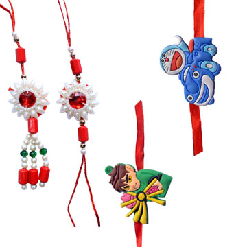 Rakhi Set-Bhaiya Bhabhi with 2 Kids Family Rakhi Set,Send Rakhi online,send rakhi,online send rakhi,rakhi to india,send rakhi to india,rakhi shop india