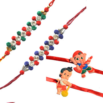 -Designer Rakhi Set with Kids Rakhi,Send Rakhi online,send rakhi,online send rakhi,rakhi to india,send rakhi to india,rakhi shop india