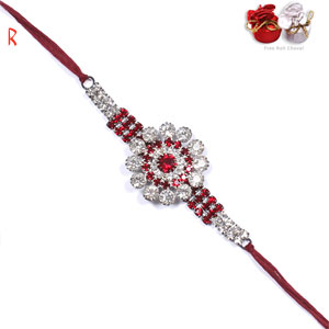 Designer Rakhi-Red Silver Sparking  Rakhi,Send Rakhi online,send rakhi,online send rakhi,rakhi to india,send rakhi to india,rakhi shop india