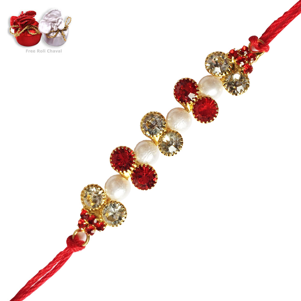 -Unique White Pearl Rakhi ,Send Rakhi online,send rakhi,online send rakhi,rakhi to india,send rakhi to india,rakhi shop india