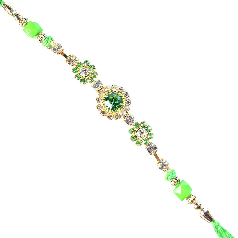 -Flower Sparkling Color Stone Designer Rakhi,Send Rakhi online,send rakhi,online send rakhi,rakhi to india,send rakhi to india,rakhi shop india