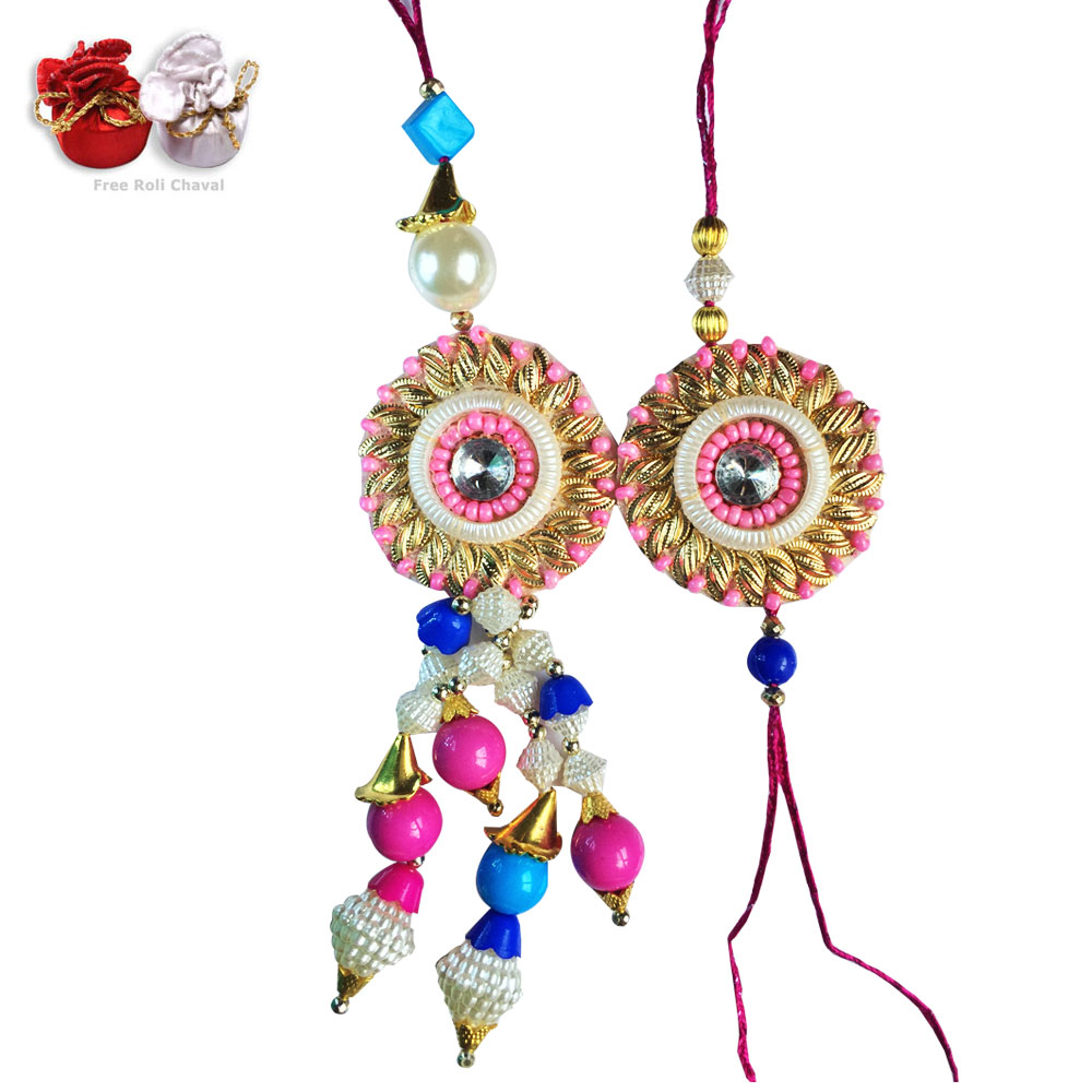 Bhaiya Bhabhi Rakhi-Rich Color Flower Special Pair  for Bhaiya  Bhabhi Rakhi,Send Rakhi online,send rakhi,online send rakhi,rakhi to india,send rakhi to india,rakhi shop india
