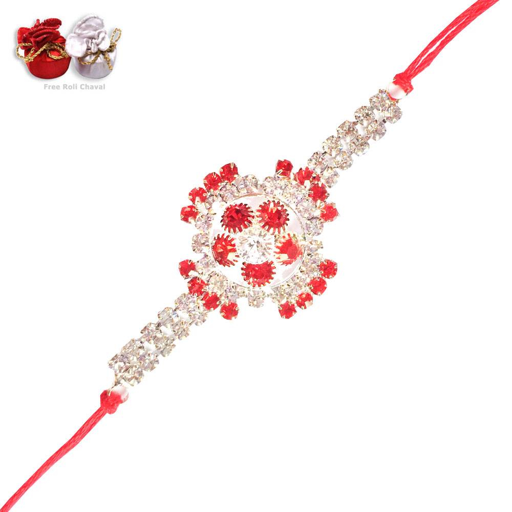 Red-White Crystal Special Jewel Rakhi for Brother