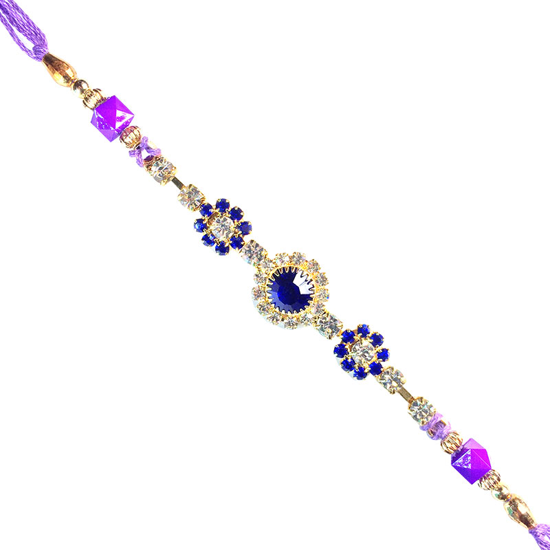 Designer Rakhi-Attractive Rich Blue-White Stone  Rakhi for Student,Send Rakhi online,send rakhi,online send rakhi,rakhi to india,send rakhi to india,rakhi shop india