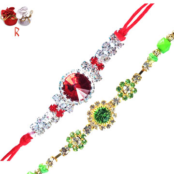 -Green Red Rakhi Flower Rakhi Set,Send Rakhi online,send rakhi,online send rakhi,rakhi to india,send rakhi to india,rakhi shop india