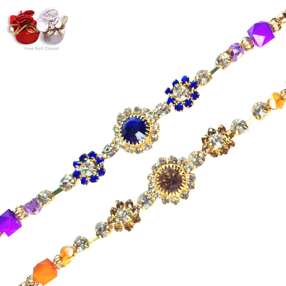Rakhi Set- Blue Gold  Amez Rakhi Set,Send Rakhi online,send rakhi,online send rakhi,rakhi to india,send rakhi to india,rakhi shop india